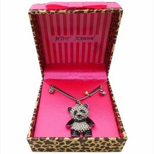 Betsey Johnson Crystal Panda Necklace NIB